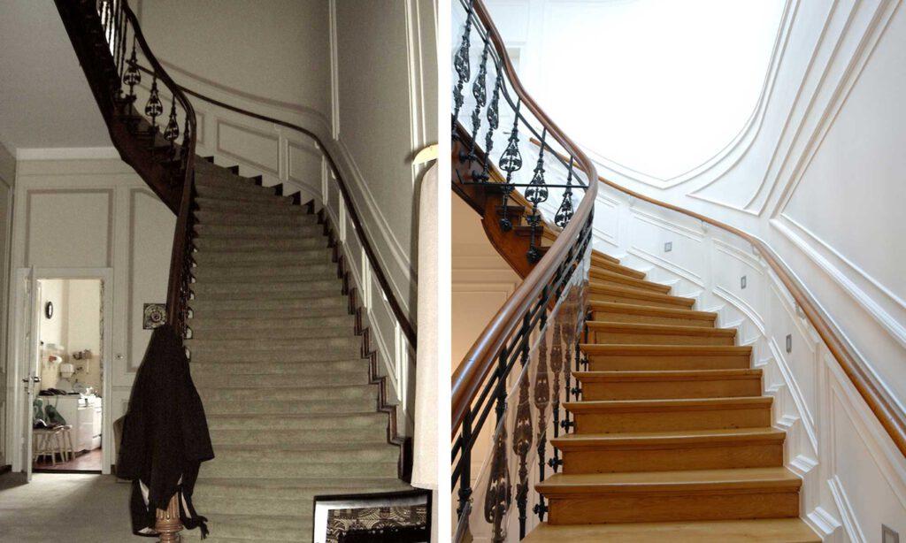 Vorher/Nachher-Abbildung Treppenaufgang
